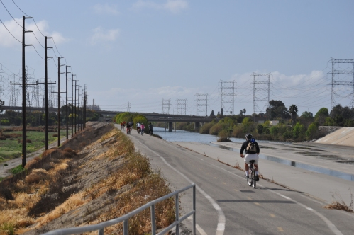 At the bridge (San Gabriel - Coyote Creek: San Diego Fwy (front) - Edison  Plant (back - left)