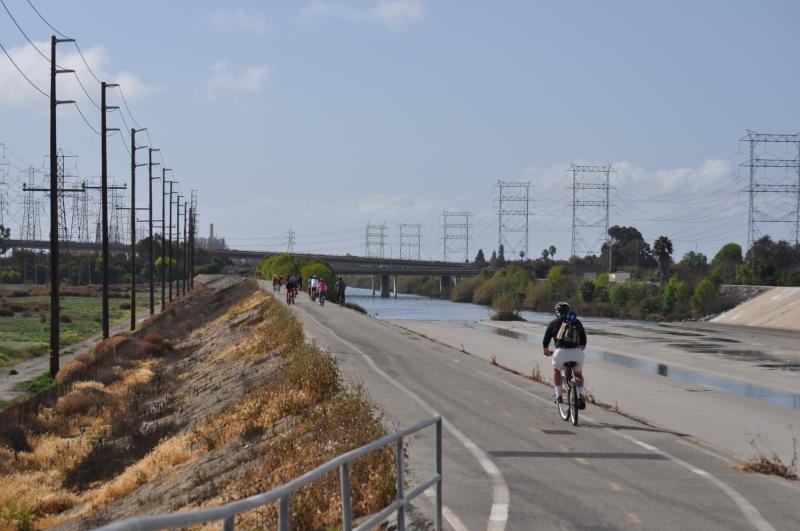At the bridge (San Gabriel - Coyote Creek: San Diego Fwy (front) - Edison Plant (back - left)