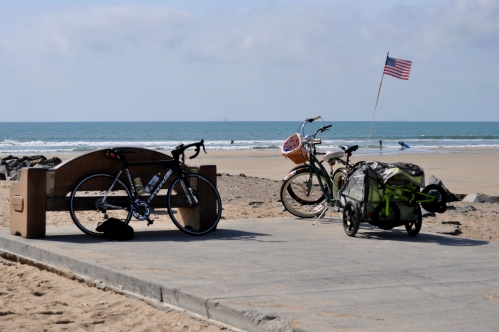 The Rest Bench at Santa Ana River mouth in Huntington Beach