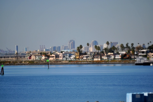 Seal Beach (front)/Aquarium of the Pacific, Sproose Goose, Queen Mary (middle)/Downtown Long Beach (Back) from Pacific Coast Hwy in Seal Beach
