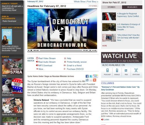 Headlines for February 07, 2012 (from Democracy Now)