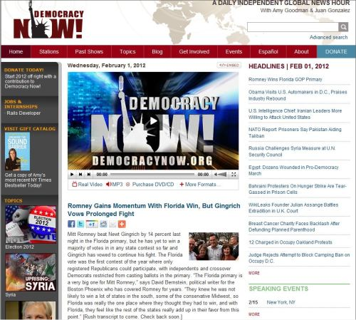Headlines from Democracy Now (Wednesday, February 1, 2012)