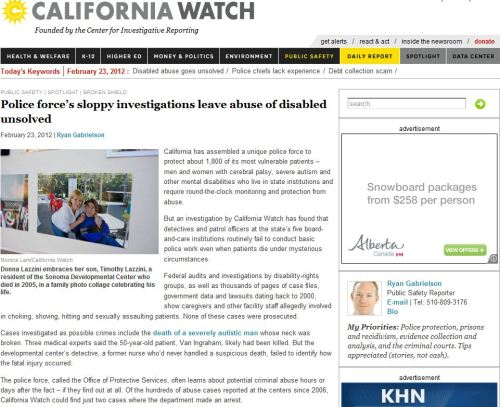Police force's sloppy investigations leave abuse of disabled unsolved (from California Watch)