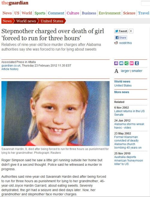 Stepmother charged over death of girl 'forced to run for three hours' (from The Guardian)
