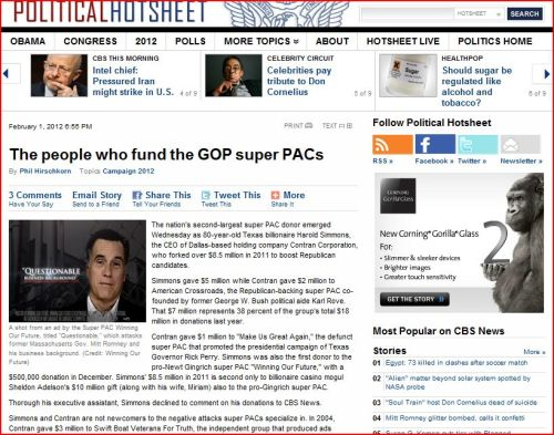 The people who fund the GOP super PACs (from CBS News)