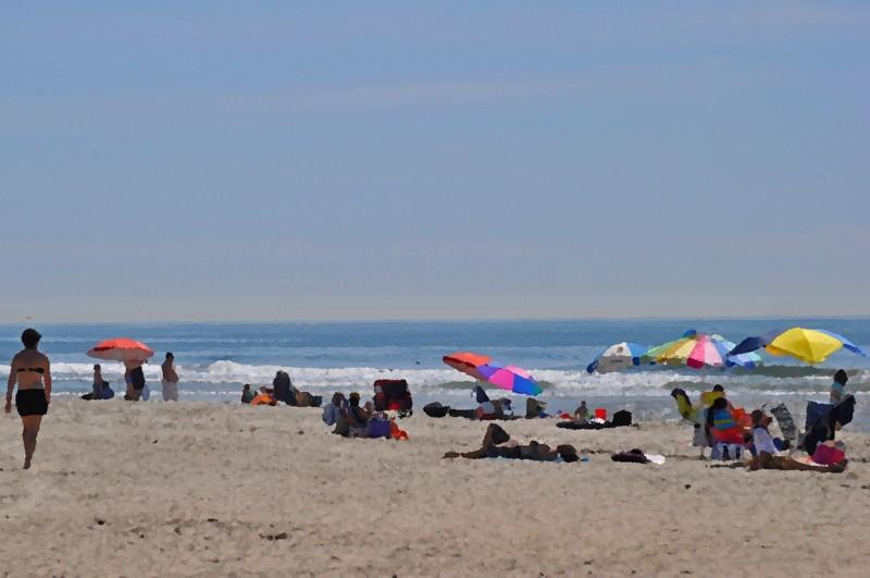 Beach Goers at Santa Ana River Mouth in Huntington Beach (my digital oil painting memoirs)