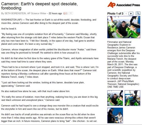 Cameron - Earth's deepest spot desolate, foreboding From Associated Press)