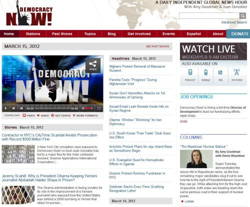 Democracy Now Headlines March 15 2012 (click here to find out more)