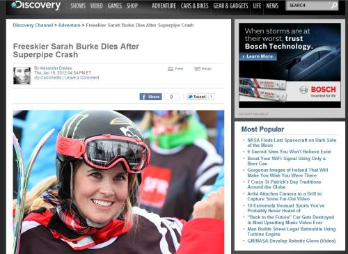 Freeskier Sarah Burke Dies After Superpipe Crash (from Discovery Channel)
