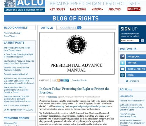 In Court Today - Protecting the Right to Protest the President (from ACLU)