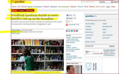 Foodbank handouts double as more families end up on the breadline (from the Guardian)