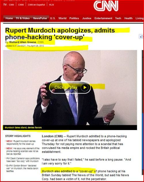Rupert Murdoch apologizes admits phone-hacking 'cover-up' (from Breaking News via CNN)