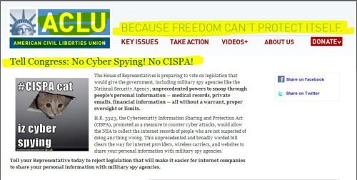 From ACLU:  Tell Congress: No Cyber Spying! No CISPA!