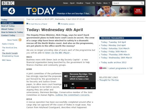 Today - Wednesday 4th April (from BBC)