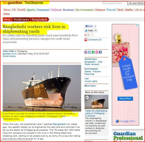 Bangladeshi workers risk lives in shipbreaking yards (from the Guardian)