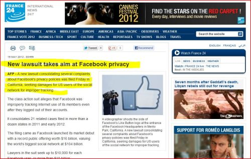 New lawsuit takes aim at Facebook privacy (from France 24 International)