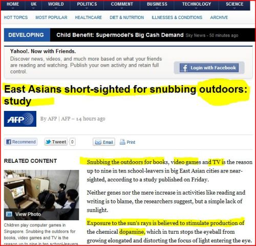 East Asians short-sighted for snubbing outdoors
