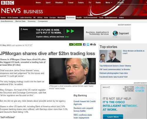 JPMorgan shares dive after $2bn trading loss (from BBC News)
