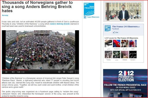 Thousands of Norwegians gather to sing a song Anders Behring Breivik hates: From France 24 International