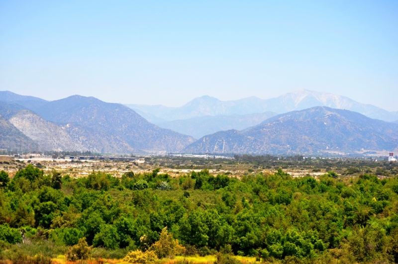 Landscape of the San Gabriel river and mountains