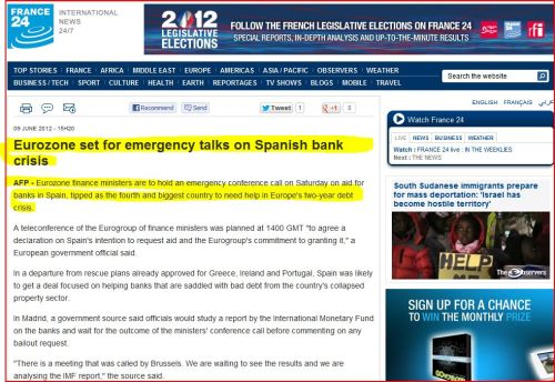 Eurozone set for emergency talks on Spanish bank crisis (from 24 France Intenational)