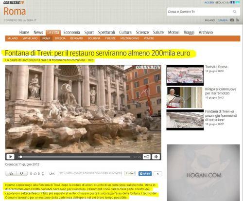Fontana di Trevi - per il restauro serviranno almeno 200mila euro (from El Corriere della serra)