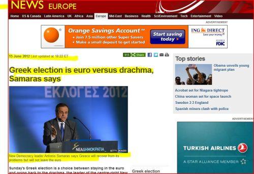 From BBC NEWS-Europe _ Greek election is euro versus drachma, Samaras says