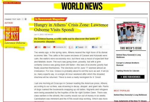 Hungry in Athens Crisis Zone - Lawrence Osborne Visits Spondi (from Newsweek / The Daily Beast)