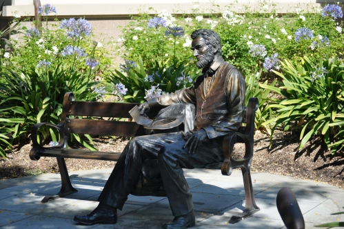 Abraham Lincoln statue @ Liberty Park, Cerritos, California, holding the manuscript of one of his inaugural addresses