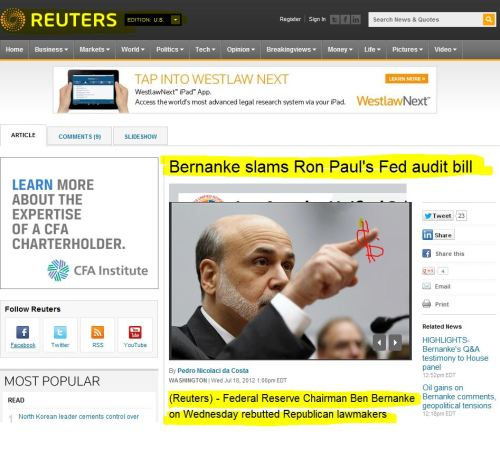 Bernanke slams Ron Paul's Fed audit bill (from Reuter US)