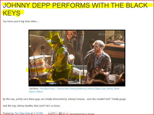 JOHNNY DEPP PERFORMS WITH THE BLACK KEYS