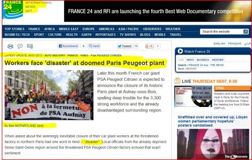 Workers face 'disaster' at doomed Paris Peugeot plant (from France 24 international)