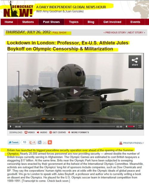 Lockdown in London: Professor, Ex-U.S. Athlete Jules Boykoff on Olympic Censorship & Militarization (from Democracy Now)