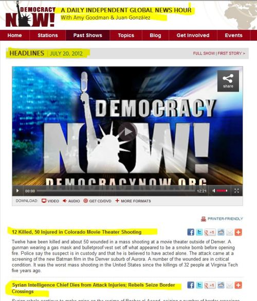 Democracy Now- July 20.2012 Headlines - Stories