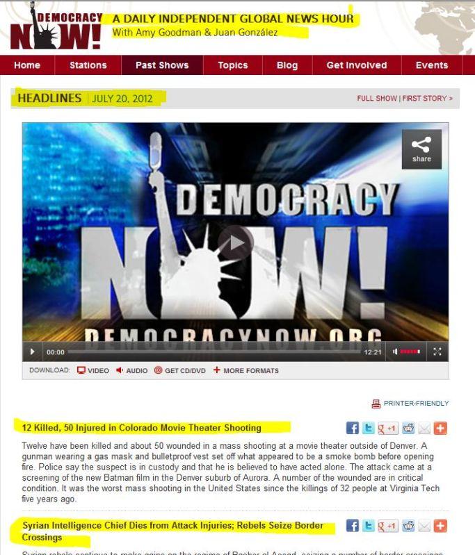 Democracy Now- July 20.2012 Headlines - Stories