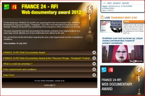 France 24-RFI Web documentary award 2012 (Want to participate? Click here to find out more)