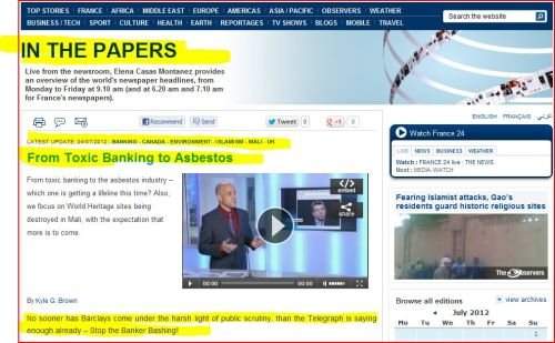 From Toxic Banking to Asbestos (from France 24 International)