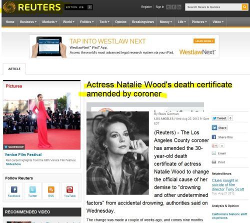Actress Natalie Wood's death certificate amended by coroner (from Reuters)
