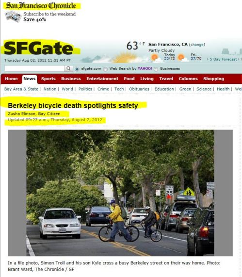 Berkeley bicycle death spotlights safety (From SFGate)