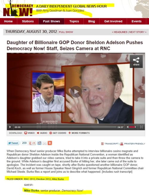 Daughter of Billionaire GOP Donor Sheldon Adelson Pushes Democracy Now! Staff, Seizes Camera at RNC