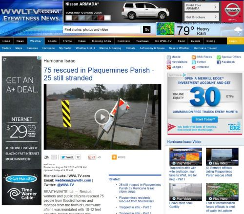 Hurricane Isaac:  75 rescued in Plaquemines Parish - 25 still stranded (from WWLTV.com)
