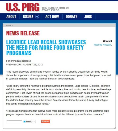 News Release: Licorice Lead recall showcases the need for more food safety programs  (from U.S. PIRG)