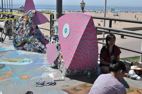 Sidewalk calk art -Huntington Beach Pier
