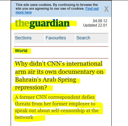 Why didn't CNN's international arm air its own documentary on Bahrain's Arab Spring repression? (from UK Guardian)