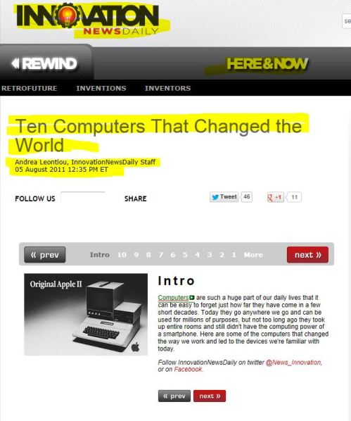 Ten Computers That Changed the World  (Innovation News Daily)