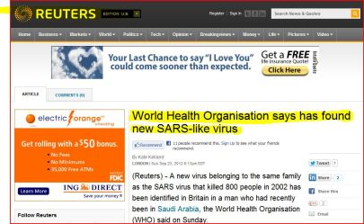 World Health Organisation says has found new SARS-like virus (From Reuters)
