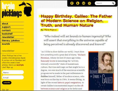 Happy Birthday, Galileo: The Father of Modern Science on Religion, Truth, and Human Nature by Maria Popova