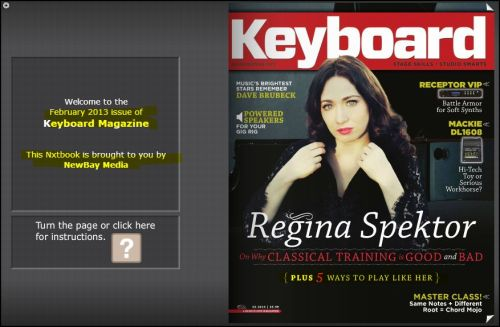 Singer and Songwriter Regina Spektor: Featured on the February 2013 cover of KEYBOARD MAGAZINE