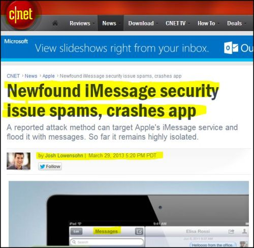 CNET- Newfound iMessage