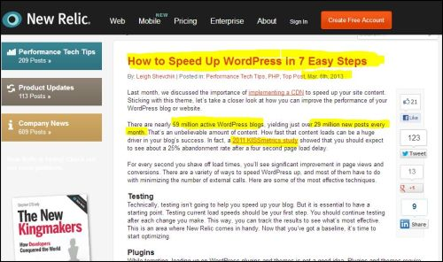 From New Relic:  How to speed Up WordPress in 7 Easy Steps